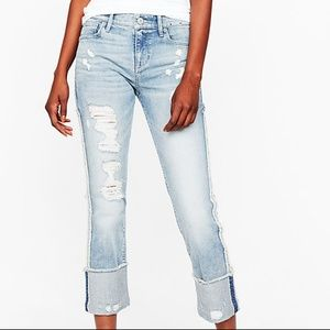 Express Mid Rise Cuffed Cropped Skinny Jeans